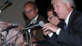 From left, Toronto Mayoral candidates Tom Jakobek, John Tory, and David Miller debate environmental issues.