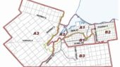 Simplified map showing Hamilton's different waste collection zones.
