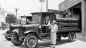 "1925 publicity photograph showing an Orange Crush delivery truck. Ironically the truck had no ability to ""crush"" the bottles for landfilling."